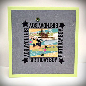 Stamped card, Birthday Boy, happy birthday, charcoal gray, lime green, yellow teal, green sequins, alien head, birthday card, greeting card