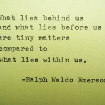 RALPH WALDO EMERSON Quote Hand Typed Typewriter Quote with Vintage Typewriter Art Paper Goods Cards Inspirational Quote