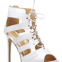 White Faux Patent Leather Lace Up Open Toe Heels