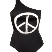 Black One Shoulder Mio with Peace Sign
