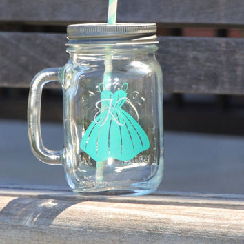 Bridesmaid mason mug, mint mason jar,  wedding party favor, Maid of honor gift, glass mason mu, party mason jars, tinted mason mugs, country