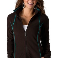 Ariat Gem Fleece Coffe Brown with Turquoise Trim Zip Jacket