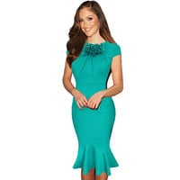 New Womens Summer Vestidos Rushed Elegant Office Cocktail Retro Party Robe Midi Bodycon Vintage Sheath Rockabilly Mermaid Dress