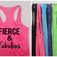 Burnout Tank, Fierce & Fabulous Burnout Tank, Fitness Tank Top, Fitness Motivation, Racerback Tank