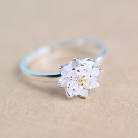 romantic lotus flower plant silver sterling silver adjustable ring jewelry accessory for women girls bride wedding party JFY66