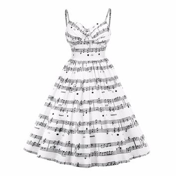 2017 New Plus Size Musical Note Print Women Vintage Retro Midi Dress Sleeveless White Female Casual Music Swing Dresses Aug31