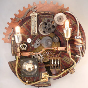 Steampunk Lighting Lamp named Gearworks-A chopped clockface holds Edison lamps, spark plugs, copper coil, meter and gears & more gears