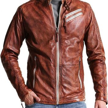 Men Motorcycle Distressed Brown Leather Jacket – In Style Jackets