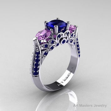 Classic 10K White Gold Three Stone Blue Sapphire Lilac Amethyst Solitaire Ring R200-10KWGLAMBS