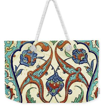 An Ottoman Iznik Style Floral Design Pottery Polychrome, By Adam Asar, No 23a - Weekender Tote Bag
