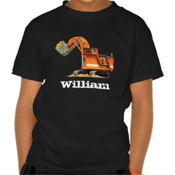 Kid's Custom Name Construction Truck Digger T-shirt