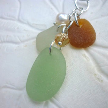 Cluster Sea Glass Necklace Beach Seaglass Jewelry  Pendant Sterling Charm