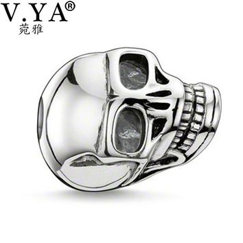 Skull Beads Charms fit for Pandora Chain for Man Jewelry DIY Necklace Bracelet for Men Women  TZ027