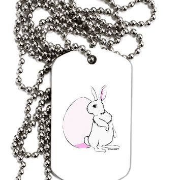 Easter Bunny and Egg Design Adult Dog Tag Chain Necklace by TooLoud