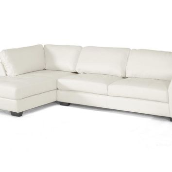 Baxton Studio Orland White Leather Modern Sectional Sofa Set with Left Facing Chaise Set of