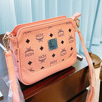 MCM new square bag multi-purpose fashion compact PU Edge Crossbody Bag Shoulder Bag Pink