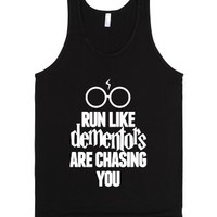 Run Like Dementors Are Chasing You-Unisex Black Tank