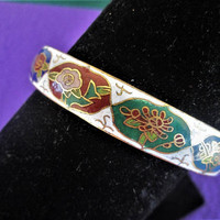 Cloisonne Bangle Bracelet Enamel Floral Convex Hexagon Vintage Asian Chinese Ethnic Art Jewelry Gift Idea