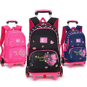 Stylish Princess Style Girls Children School Bags With 2/6 Wheels Trolley Backpack Gift Girls Removable Trolley Children Bag