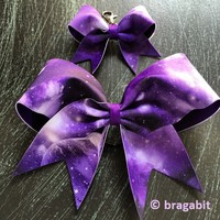 Purple galaxy cheer bow with keychain.