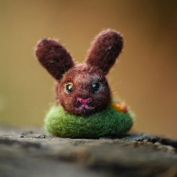 Bunny Miniature, Easter Bunny, Needle Felted Bunny, Easter Decor, Brown Bunny, Felt Ornament, Easter Gift, Cute Bunny, Felt Rabbit, Wool