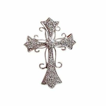 Luxinelle Pave Diamond White Gold Cross Pendant Necklace - Elegant Curved Design 14k