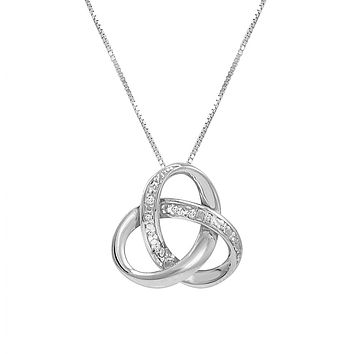 Sterling Silver Diamond Love Knot Pendant- Necklace on an 18inch Box Chain