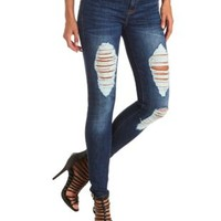 "Refuge ""Skin Tight Legging"" Destroyed Jeans - Dark Wash Denim"