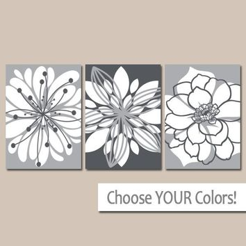 GRAY Wall Art, Canvas or Prints, Floral Bathroom Decor, Floral Bedroom Pictures, Gray Flower Wall Art, Flower Bedroom Decor, Set of 3