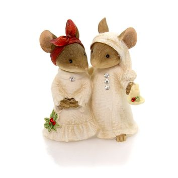 Christmas Mice Couple With Candle Christmas Figurine