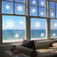 14 Pieces Wall Sticker White Frozen Snowflakes Vinyl Art Decal Christmas Window Sticker DIY Home Wall Shop Window Decor YO-102