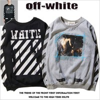 Off White Canvas Twill Couple Models Round Neck Hooded Sweater