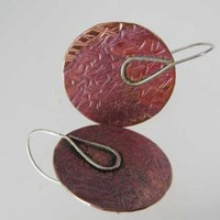 Sterling Silver and Copper Disc Earrings Mixed Metal by ExCognito