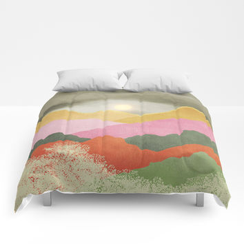 Colorful mountains Comforters by vivianagonzlez