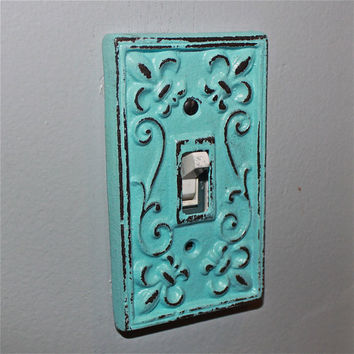 Aqua Decorative Light Switch Plate/ Single Switch Cover/ Fleur de lis/ Bright Cast Iron/ Painted Metal/ Shabby Chic