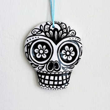 Ornament Sugar Skull Painted Ceramic Day of the Dead Decor White and Black Ceramic Dia de los muertos - READY TO SHIP