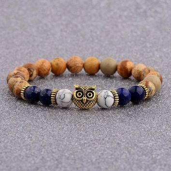 Amader Trendy Charm Men Owl Shape Tiger Eye Bracelet Women Lava Lapis Lazuli Stone Bracelets Yoga Prayer Jewelry AB505