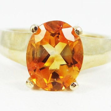 Yellow Citrine Oval Ring 14k Yellow Gold, November Birthstone Ring, 14k Yellow Gold Citrine Ring, Citrine Oval Ring, 14 Karat Gold Ring