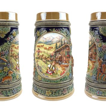 German Spring .5 Liter Embossed Ceramic Bier Stein