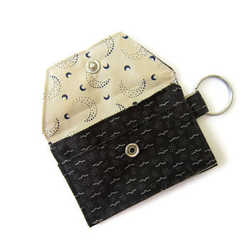 Mini key chain wallet/ simple ID Key chain pouch / Business card holder/ keychain coin purse / Moonlight River - black and cream