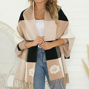 Tassel Women Cardigans Plaid High Fashion Knitted Cardigans Casual Plus Size Sweater Cardigans