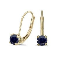 14K Yellow Gold Round Sapphire Lever-back Earrings ( 4mm 1/2ct tgw)