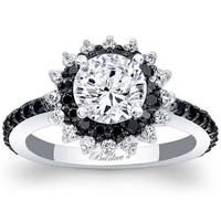 "Barkev's ""Starburst"" Black Diamond Halo Engagement Ring"