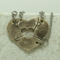 Friendship Heart pendants set of 4 pottery pieces Grey Purple Always together quote