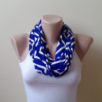 Chevron Infinity scarf  circle scarf loop scarf modern  royal blue white 0035