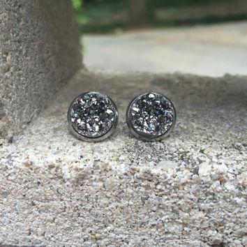 Hypoallergenic Earrings Gunmetal Druzy Stud Earrings Boho Jewelry 12MM