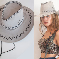Unisex Grey or Black Western Hat | Womens Cowgirl Hat Leather Stitching | Mens Cowboy Hat | 70s Faux Suede Vintage Southwestern Rancher Hat
