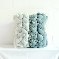 "Creamy and Duck Egg Blue ""plait"" pillowcase - dyed, decorative, handmade cushions."