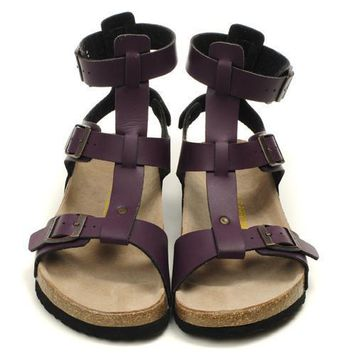 Birkenstock Leather Cork Flats Shoes Women Men Casual Sandals Shoes Soft Footbed Slippers-17