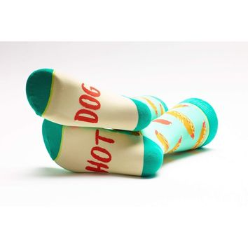 Woven Pear - Hot Dog- Hello Mustard Socks